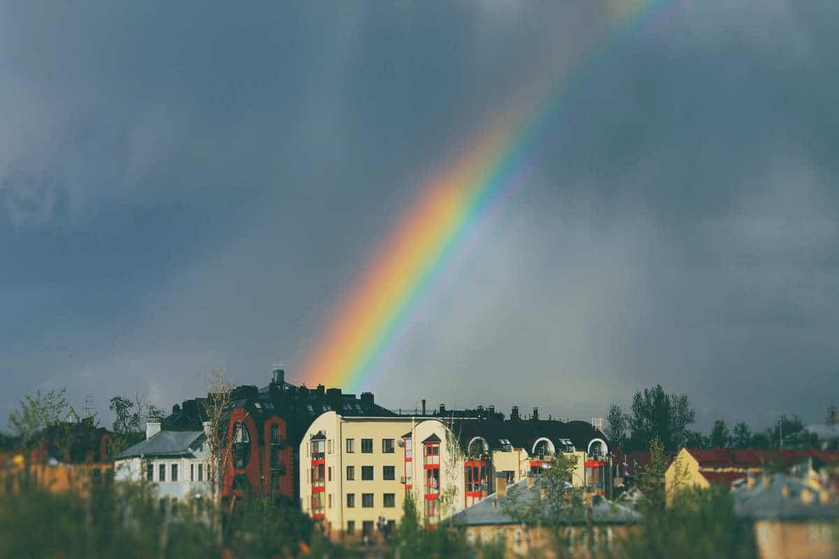rainbow & buildings